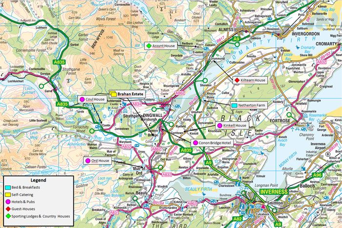 river conon – map of accommodation for visiting anglers